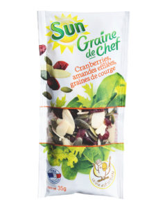MEL CRANBERRIES GRAINES DE COURGE AMANDES EFFILEES GRAINE DE CHEF 35G