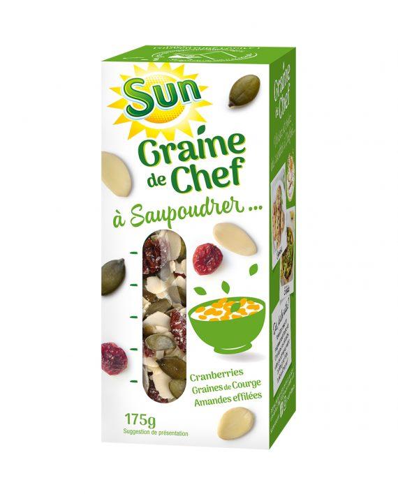 SUN Graine de chef graines de courge cranberries et amandes effilées 175g
