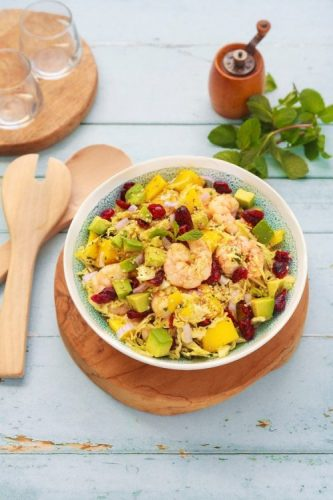 salade crevettes mangue avocat cranberries