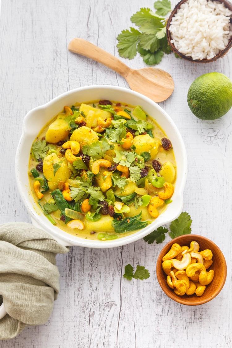 curry pomme de terre noix de cajou curcuma