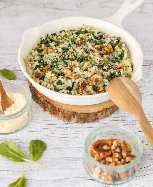 risotto épinards et noix